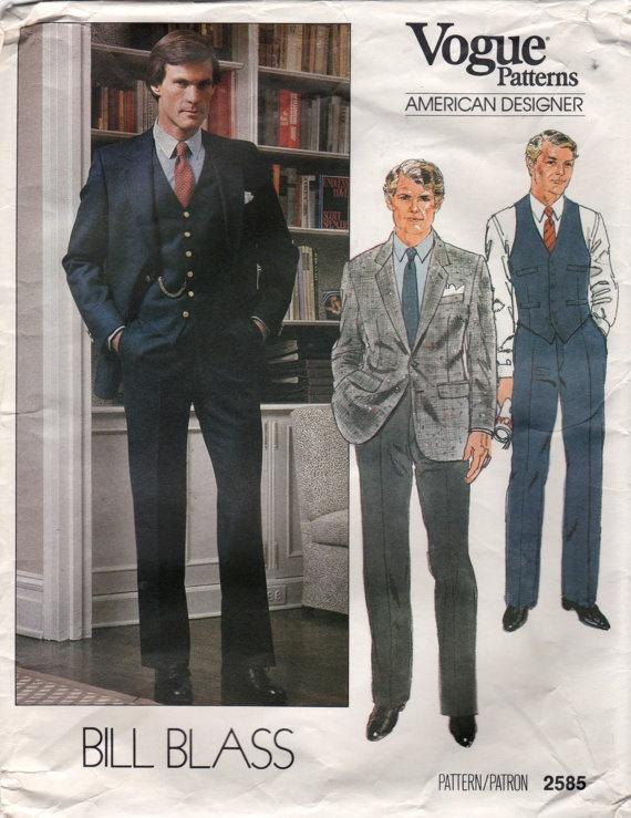 Vogue 40 40s Bill Blass Mens Designer 40 Piece Suit Pattern Unique Mens Suit Sewing Patterns