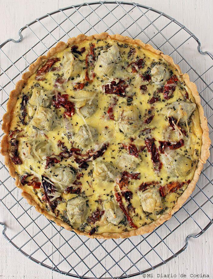 Receta de Quiche de alcachofas y tomates deshidratados, una excelente y deliciosa alternativa de quiche para cualquier ocasión.