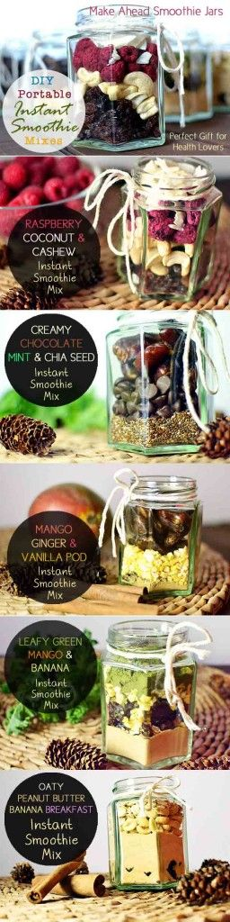 DIY Portable Instant Smoothie Mixes: These homemade instant smoothie jars would make a perfect gift for your loved ones this Christmas.