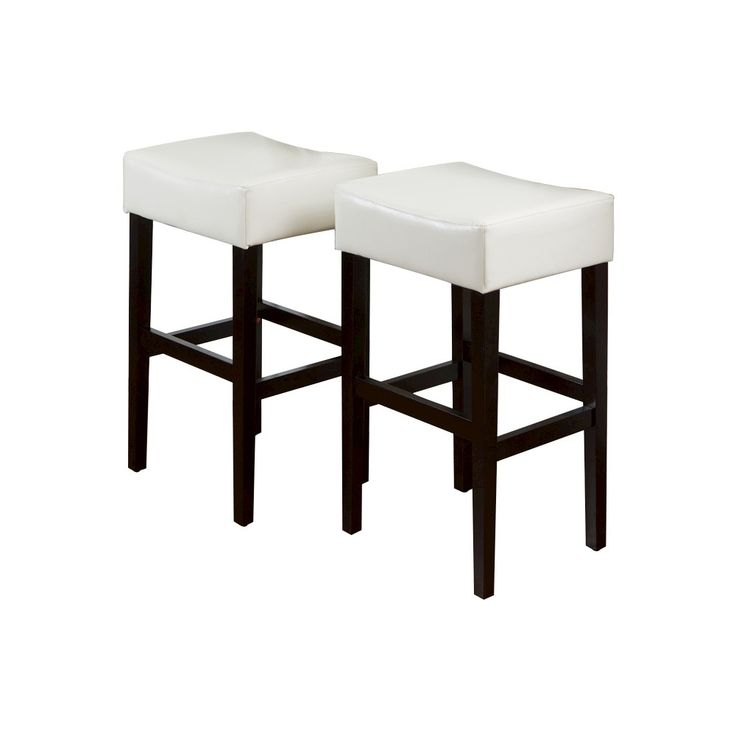 Lopez 30.5 Leather Backless Bar Stools - Ivory (Set of 2) - Christopher Knight Home