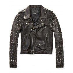 Maison Scotch Studded Leather Biker Jacket