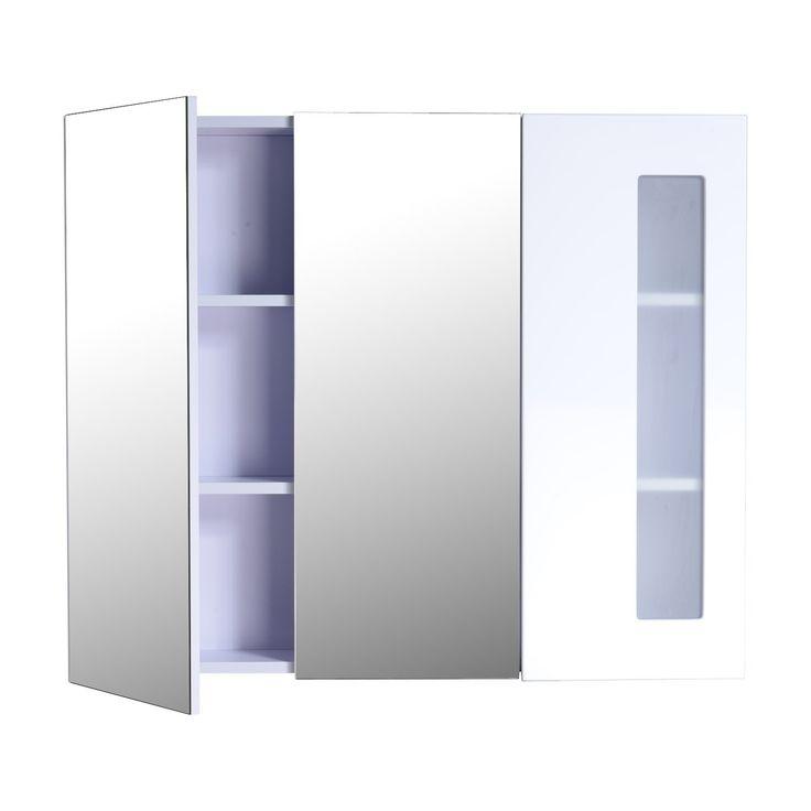 Armoire de toilette/salle de bain à miroir armoire murale 3 portes 2 étagères fermeture en douceur MDF 90L x 15l x 75Hcm blanc neuf 36: Amazon.fr: Cuisine & Maison