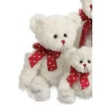 Lovable - White Valentines Bear with Red Ribbon (Toy)  #valentineday www.giftsforbelovedones.com