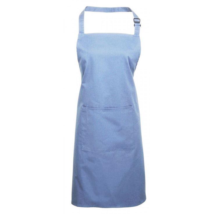 Schort met zak zacht blauw