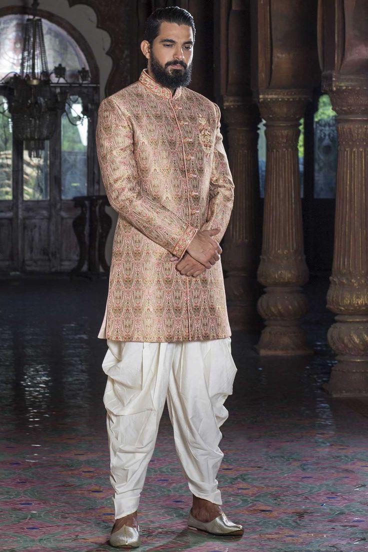 IndoWestern Sherwani-Beige-IW788 - Sherwani - Men's Wear