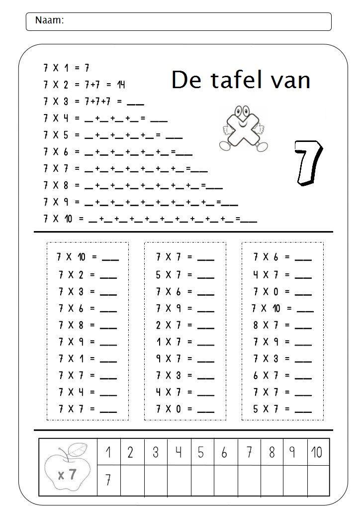 werkblad tafel van 7