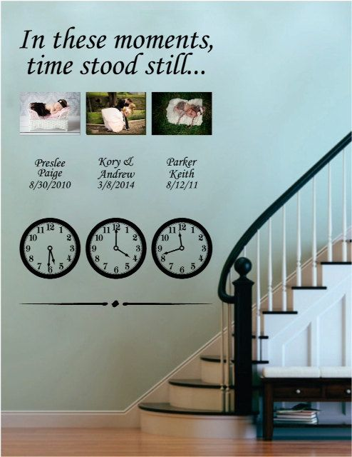 in these moments time stood still - vinyl wall decal, family, clocks
