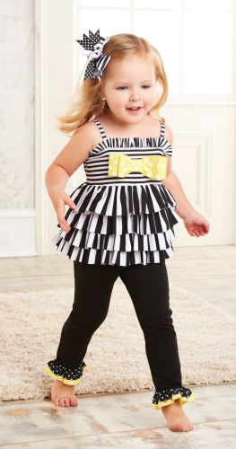 Mud Pie Striped Tunic & Legging Set-mud pie, spring 2013, striped tunic and leggings set, black, white