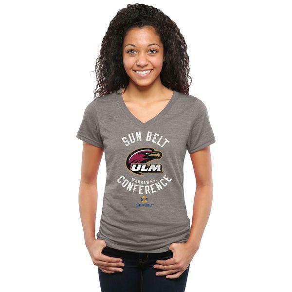 Sun Belt Gear Women's Conference Stamp Tri-Blend V-Neck T-Shirt - Ash - $27.99