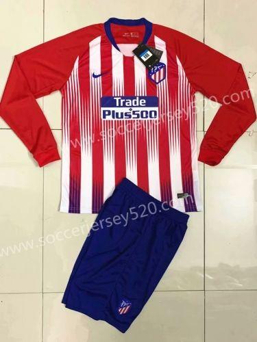 78dfa591344 2018-19 Atlético Madrid Home Red White stripe LS Soccer Uniform ...