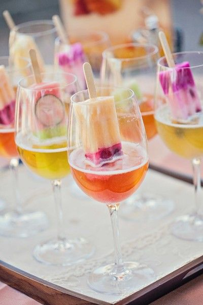food + drink | colorful cocktails with popsicles garnish