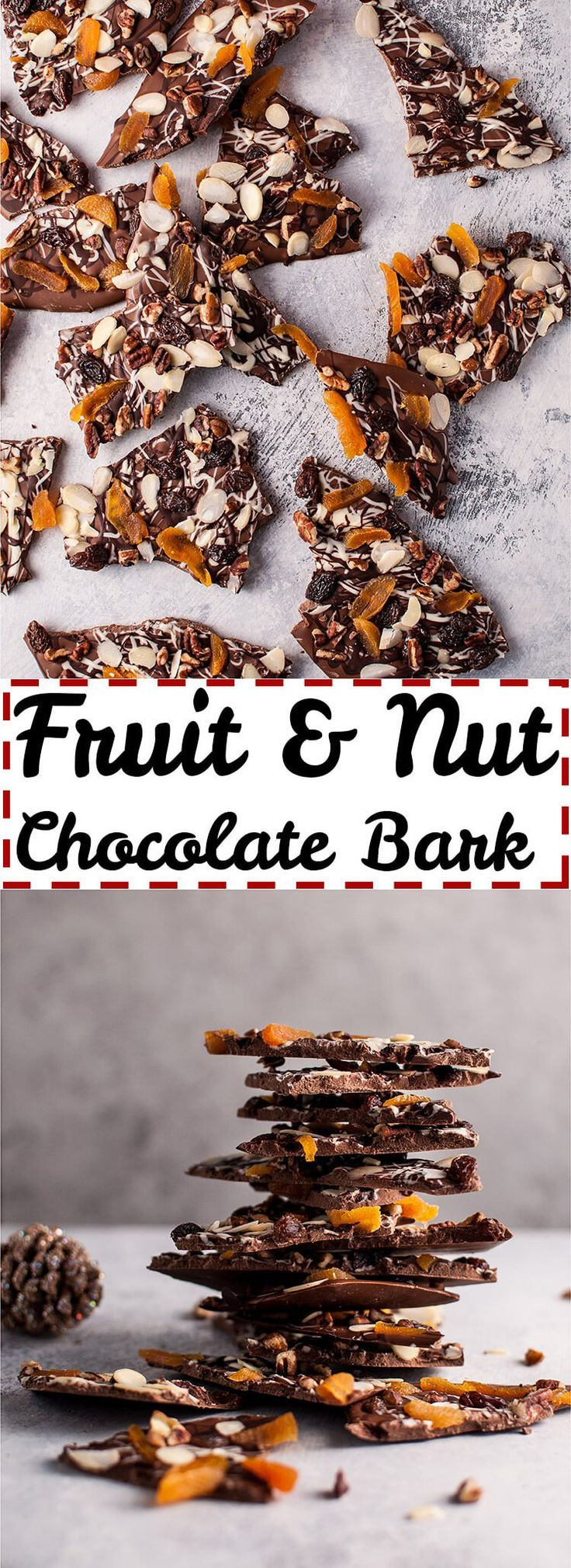 This fruit and nut chocolate bark is easy, delicious, and makes a perfect festive Christmas treat or homemade gift.