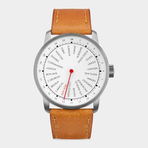 Global Watch: For the 24-hour lifestyle comes this design award-winning 24-hour time zone watch. Two dials (one outer, one inner) work together with the moving hand to give you current time—no matter where in the world you find yourself. Designed by two members of the Danish architecture firm of Dissing + Weitling, originally formed in 1971 to continue the work of Arne Jacobsen.