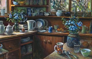 MARGARET OLLEY (born 1923) PLUMBAGO, 2000 oil on composition boardd 59.0 x 89.5 cm