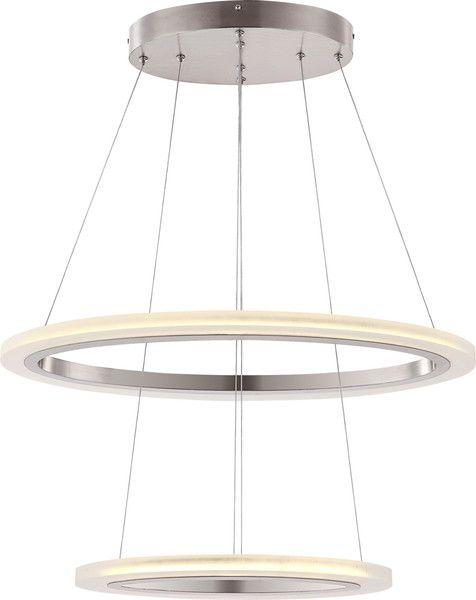 Hängeleuchte/ Kronleuchter Nickel Matt, Acryl Satiniert. Moderne Design  Leuchte, Die Sich Frei