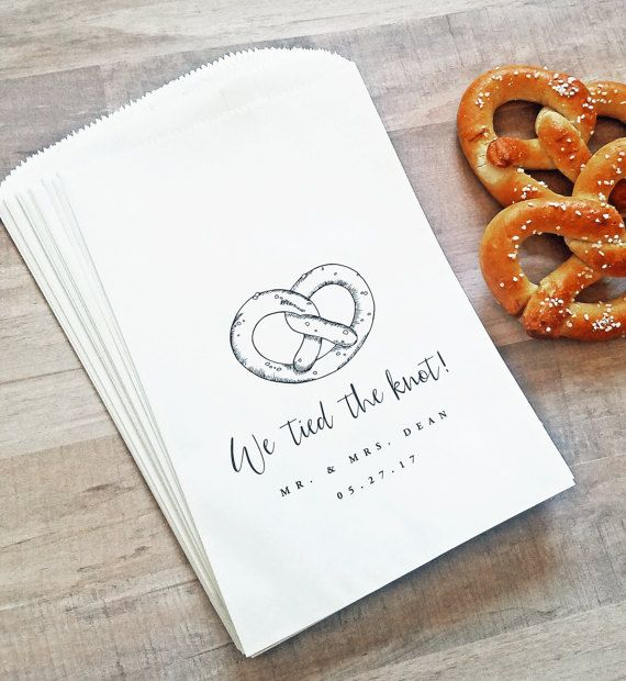 Pretzel 'We tied the knot' Wedding Favor Dessert Bags by Cricket Printing