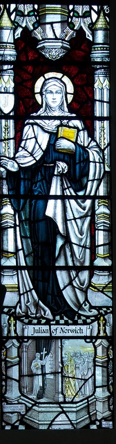 Julian of Norwich by IanAWood, via Flickr (The cat is missing in this stained glass - very unfortunate, although this is a lovely depiction.)