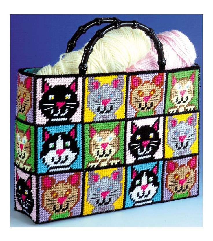 """Cat Tote Bag Plastic Canvas Kit-12""""X13""""X9/ for all you car lovers out there!"""