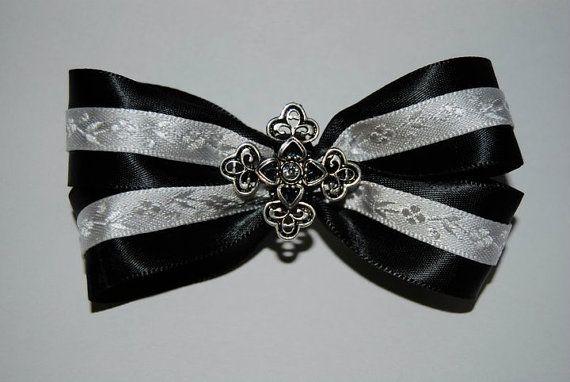 Gothic Funeral Hair Bow by MadamMorbid.deviantart.com on @DeviantArt