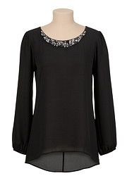 Jeweled Neck Cross Back Chiffon Blouse - maurices.com