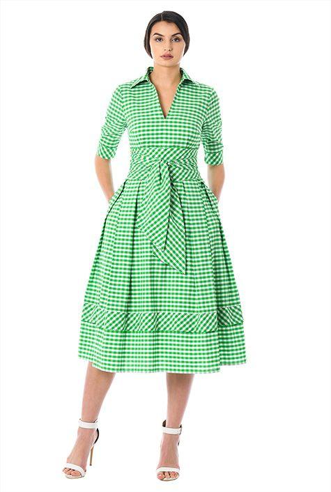 I <3 this Obi belt gingham check cotton dress from eShakti