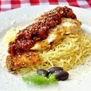 Low Fat Baked Panko Chicken Parmesan with roasted Tomato Jam