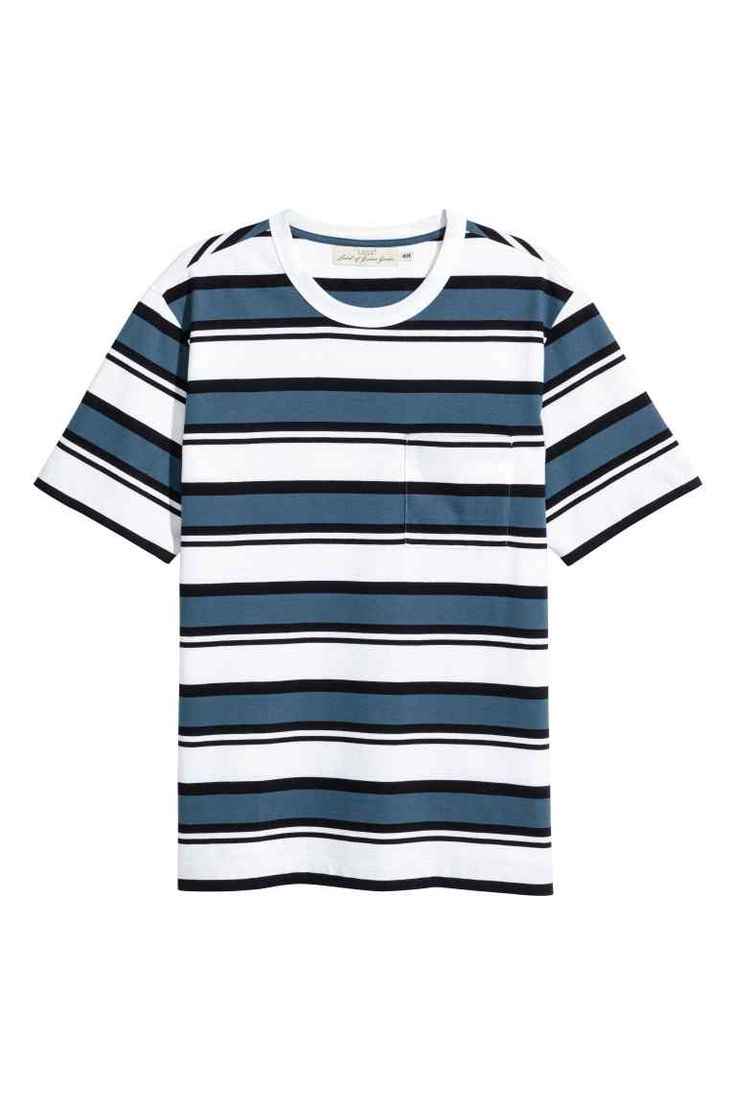 T-shirt  - Riscas Branco/Azul - HOMEM | H&M PT 1