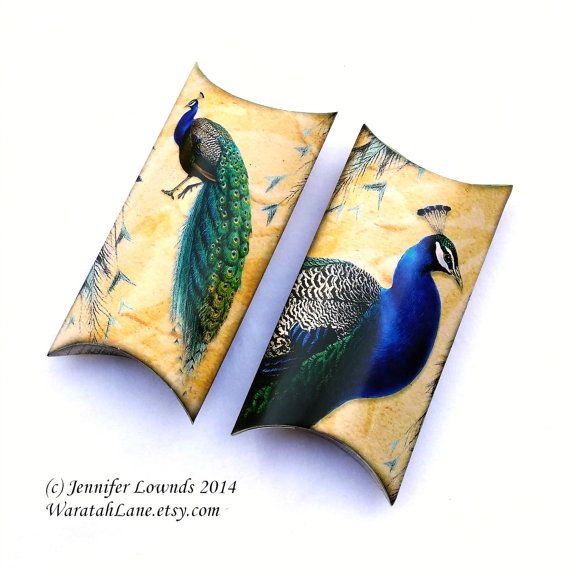 Printable Pillow Box DIY wedding bridal shower tea gift packaging  favour boxes bonbonniere Peacock bird feathers green royal blue shabby paper peacocks theme favors or for jewellery jewelry packaging or parties love those feathers