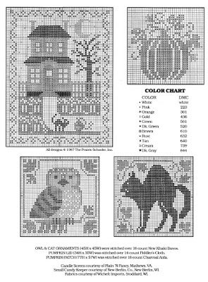 Ricami e schemi a Punto Croce gratuiti: Raccolta schemi a punto croce per Halloween (free printable halloween cross stitch patterns)