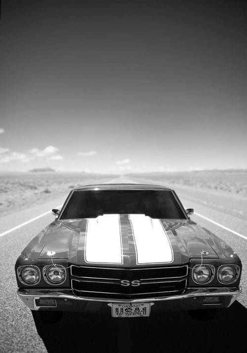 1970 Chevelle SS, black and white photo.