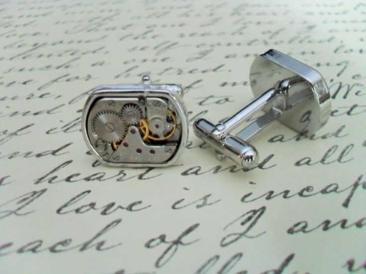 STEAMPUNK Vintage WATCH Movement CUFFLINKS // Industrial // Retro // Unique Gift // Cool Cuff Links //  Upcycled // 7 jewels // mechanical - product images  of