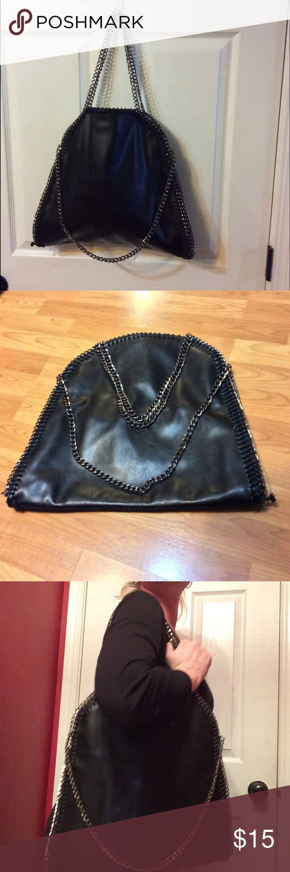 🎀✨❗️SALE❗️CHIC black hobo bag with chain handles Like new! Very good condition. I purchased it but never used it. Basically in unused condition! Paid $89  Similar to Stella McCartney Falabella but it's not.  Check out my closet for more steals and bundle deals!!  Purchase includes only items listed. Thanks for looking! Nordstrom Bags Hobos