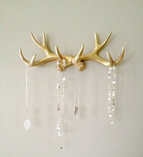 gold plated jewelry Gold Faux Deer Antler Rack    Jewelry Holder    Scarf Holder    Mug Holder