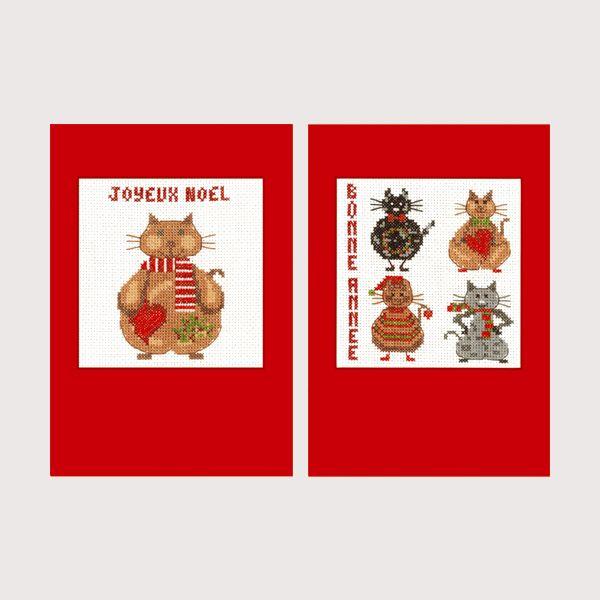 Chats Joyeuses Fêtes Bonheur des Dames Carte de voeux à broder au point de croix. Le kit n° 7527 contient 2 cartes Création Cécile Vessière pour Le Bonheur des Dames