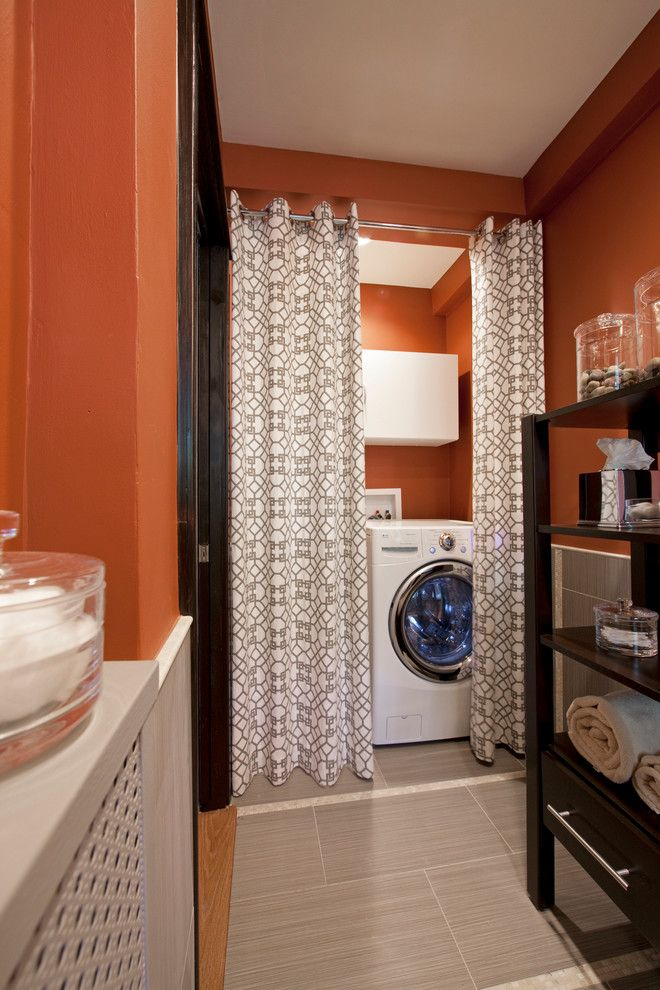 geometric curtains Laundry Room Contemporary with curtain divider curtain rod front loading washer and dryer laundry room appliances