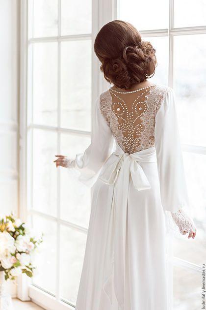 """Wedding dress / Белье ручной работы. Ярмарка Мастеров - ручная работа. Купить """"Влюбленная в Париж"""" - роскошное будуарное платье для невесты. Handmade. Белый"""