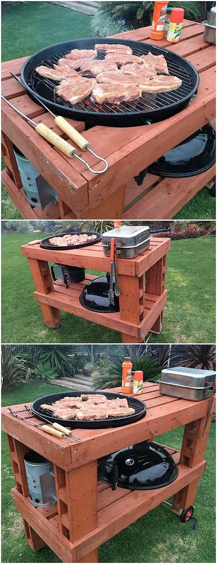 Setting the use of wood pallet for the innovative grill table designing is another one of the interesting concept to try out for your home. As it is all visible out in this image, you will encounter the square shaped structure of the wood pallet that is proportionally set with the pallet grill design over the top of it.