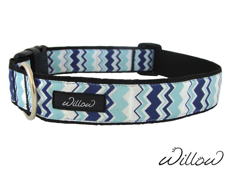 Blue Chevron Handmade Designer Dog Collar for XL Dog by Willow #PetAccessories #DesignerPets Get Yours Here: http://www.ebay.com/sch/willowpets/m.html?item=231968920899&hash=item36026cd543%3Am%3AmxNmlRHII9pMhtGj6d0xDjA&var=&rt=nc&_trksid=p2047675.l2562