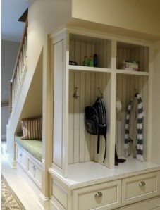 Under-the-stairs mud room design