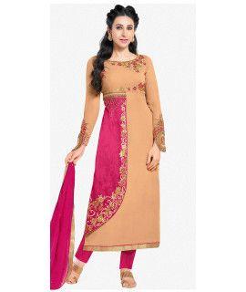 Antique Pink And Beige Georgette Salwar Suit.