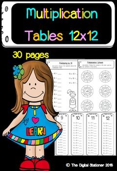 $2.50 Multiplication times tables 12 x 12 - Maths - 30 printable worksheets