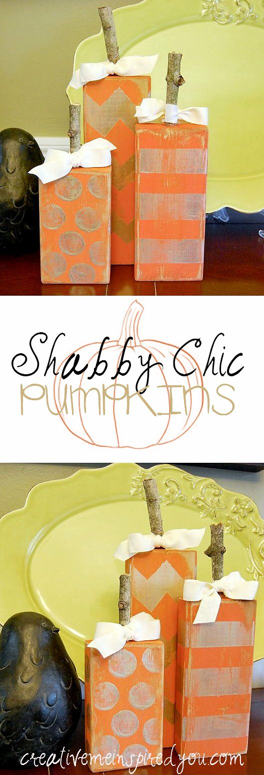 http://creativemeinspiredyou.com/fabulous-shabby-chic-pumpkins/ These 2x4 wood pumpkins are fabulous!