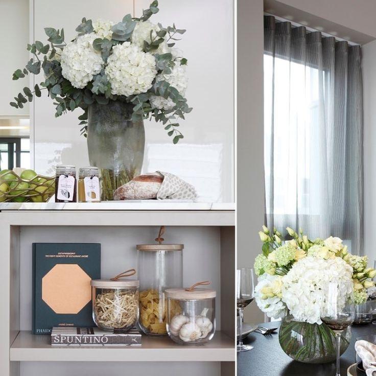 Kitchen styling 🌿 #project #wandsworth #riverside #design #spring #luxury #property #propertystyling #development #london #lifestyle #flowers #styling #kitchen #design #decor #interiors #rachelwinhaminteriordesign