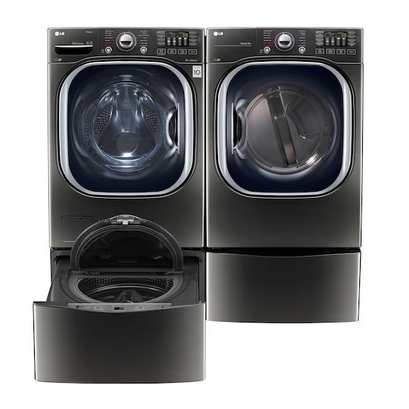 Lg Appliances Black Stainless Steel Washer Dryer Pedestal Washer And Pedestal Package Lg Appliances Laundry Room Storage Cabinet Laundry Room Storage