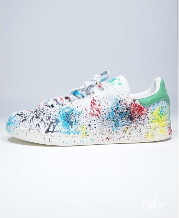 Chaussures Adidas Stan Smith Rxl Custom Peindre Stains Contrairement à la conception du style précédent, il y a des couleurs et semble très élégant.