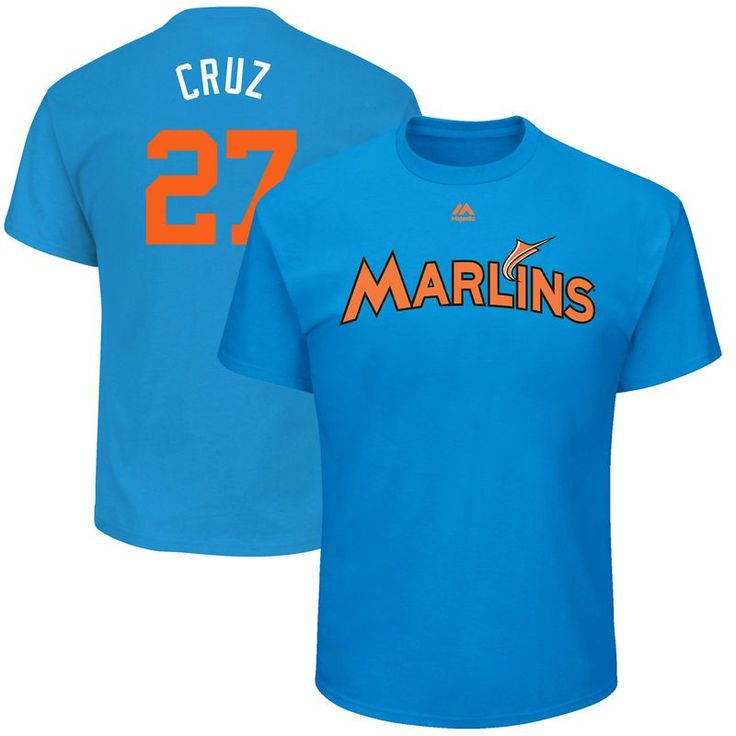 Giancarlo Stanton ''Cruz'' Miami Marlins Majestic 2017 Players Weekend Name & Number T-Shirt - Blue