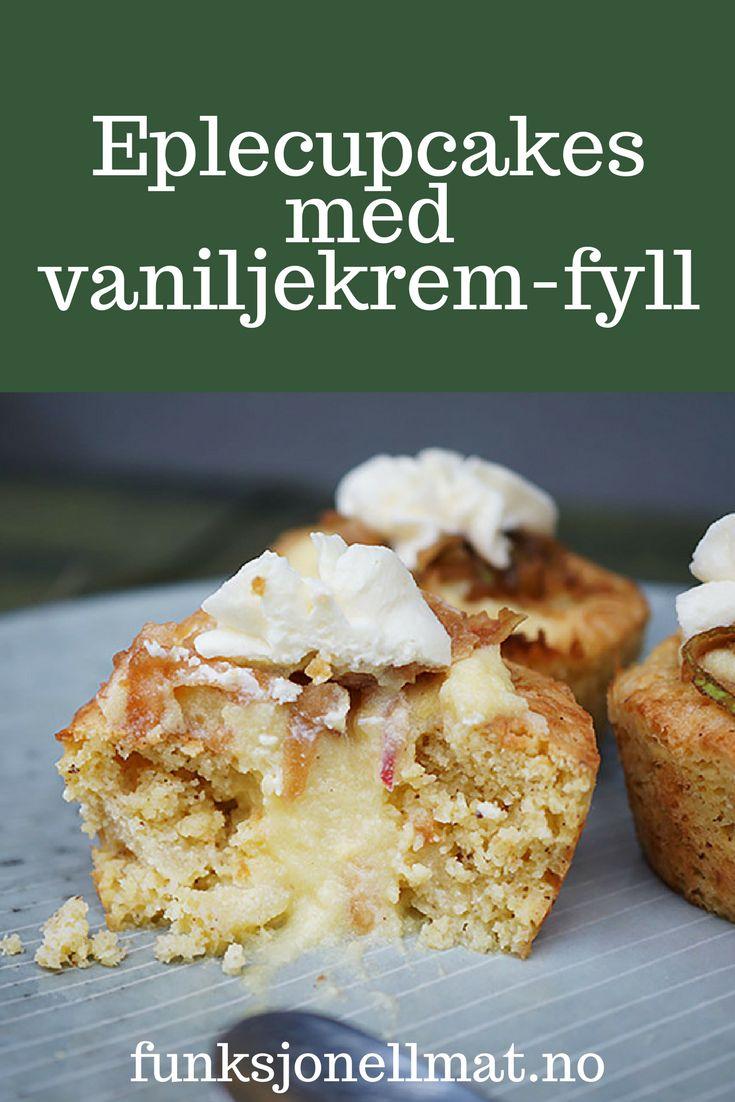 Eplecupcakes med vaniljekrem-fyll - Funksjonell Mat | Oppskrift cupcakes | Sukkerfri dessert | Sunn dessert | Sukrin | Sukkerfrie cupcakes | Dessert oppskrift | Kake oppskrift