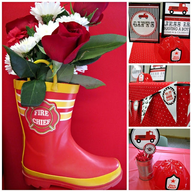 Fireman centerpiece use a child s boot as vase and tin