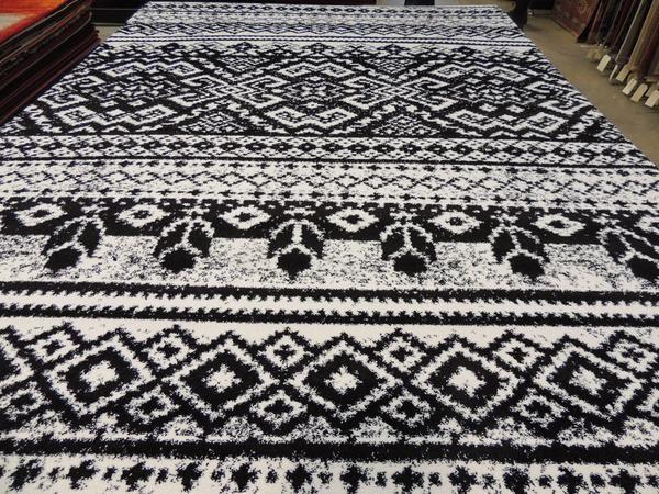 Modern Black & White Turkish Rug Size: 240 x 330cm