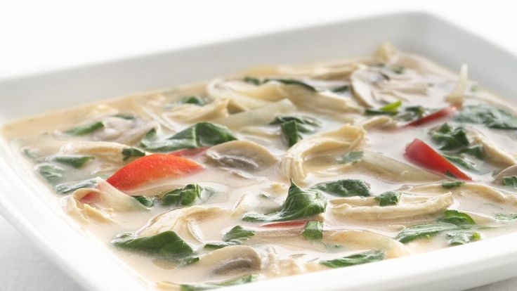 This Thai chicken soup recipe uses reduced-fat coconut milk, peppers and spinach. Try this healthified, easy Thai coconut chicken soup recipe at home tonight.